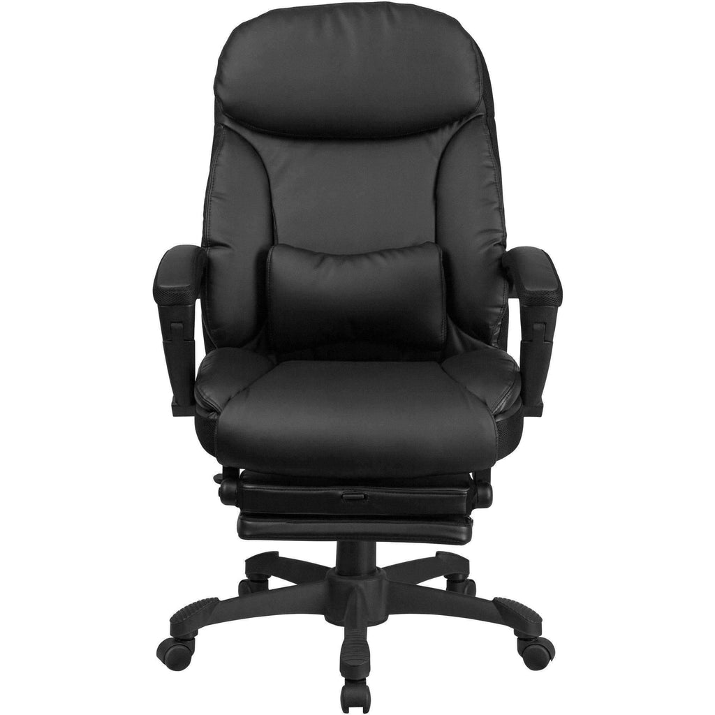 Black Reclining Swivel Office Chair With Armrests Sit