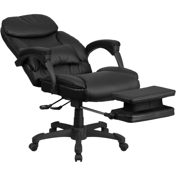 Reclining Leather Executive Swivel Office Chair with Padded Armrests