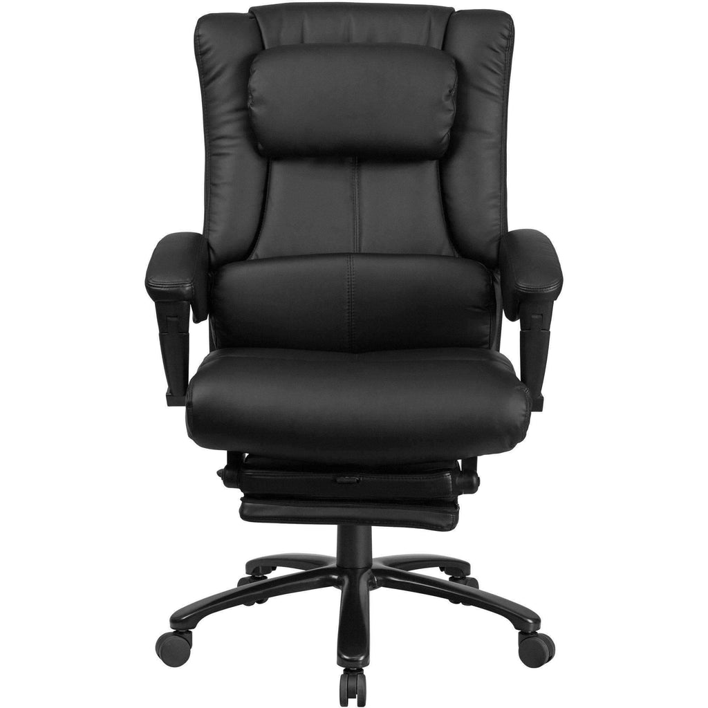 High Back Black Leather Executive Reclining Swivel Office Chair with Lumbar Support