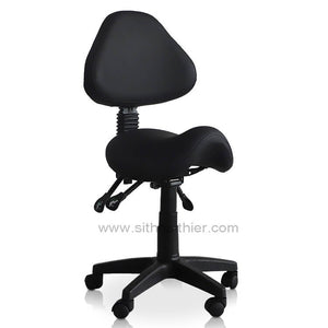 Small Saddle Shape Stool with Adjustable Back Support and Tilt-able Seat