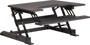 HERCULES Series 28.25''W Black Sit / Stand Height Adjustable Desk with Height Lock Feature and Keyboard Tray | Sit Healthier