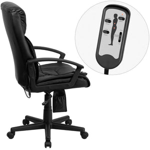 High Back Massaging Black Leather Executive Swivel Chair with Arms | Sit Healthier