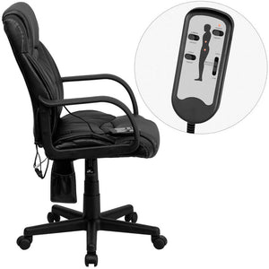 Mid-Back Massaging Black Leather Executive Swivel Chair with Arms | Sit Healthier