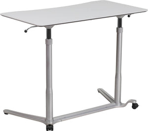 Sit-Down, Stand-Up Light Gray Computer Desk with 37.375''W Top (Adjustable Range 29'' - 40.75'') | Sit Healthier