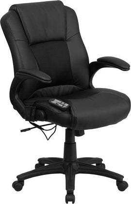 Massaging Black Leather Executive Swivel Chair with Arms | Sit Healthier