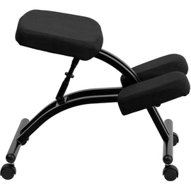 Mobile Ergonomic Kneeling Chair in Black Fabric