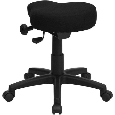 Black Saddle-Seat Utility Stool with Height and Angle Adjustment