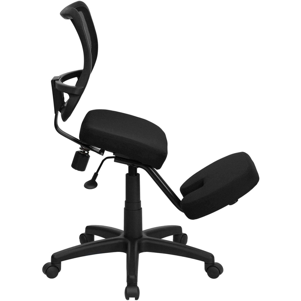 Mobile Ergonomic Kneeling Task Chair With Curved Back
