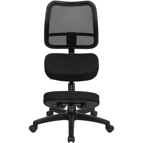 Mobile Ergonomic Kneeling Task Chair with Black Curved Mesh Back