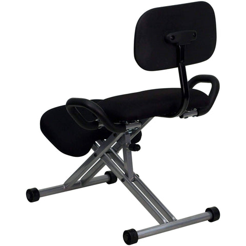 Ergonomic Kneeling Chair in Black Fabric with Back and Handles