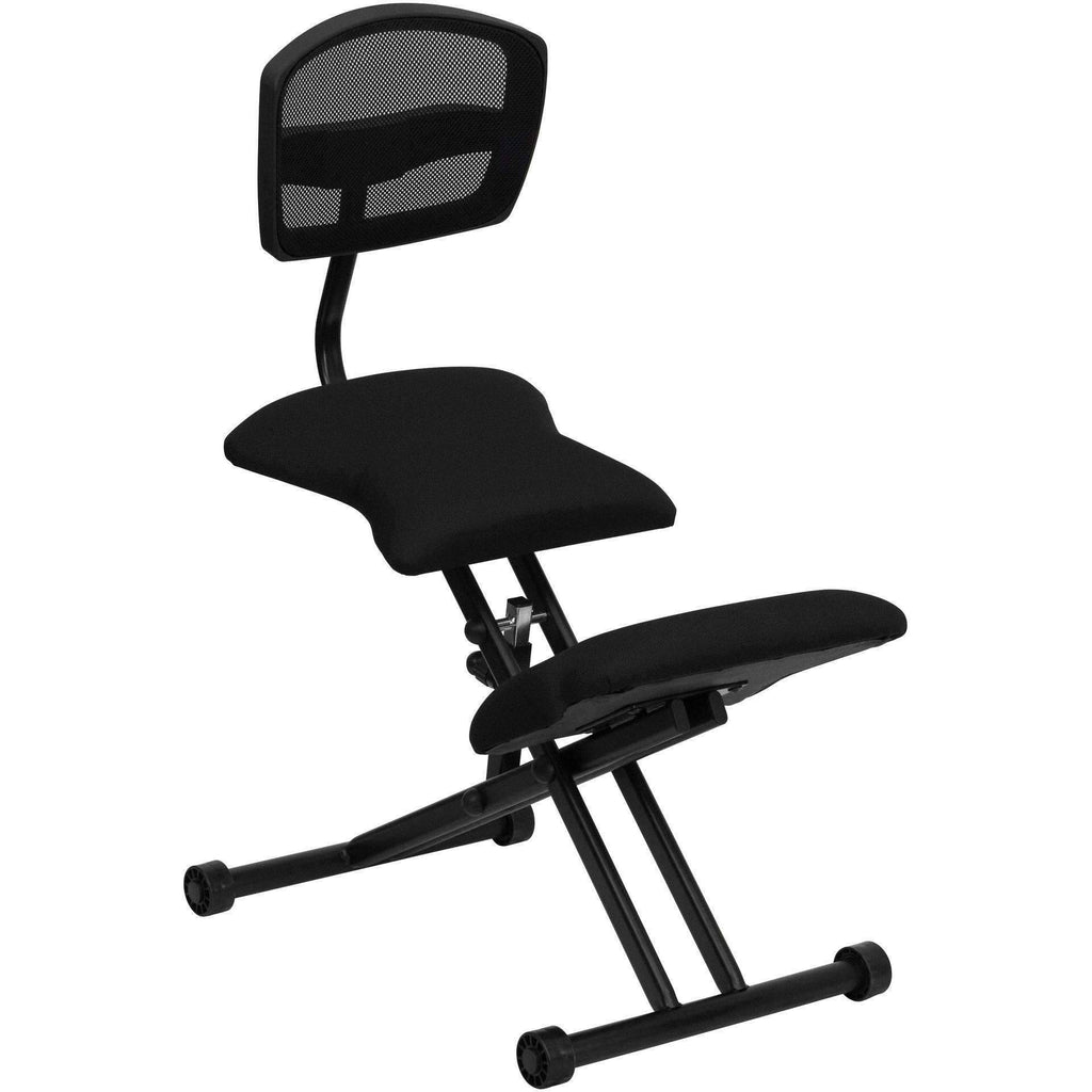 Ergonomic Kneeling Chair With Back And Fabric Seat Sit