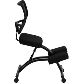 Mobile Ergonomic Kneeling Chair with Black Curved Mesh Back