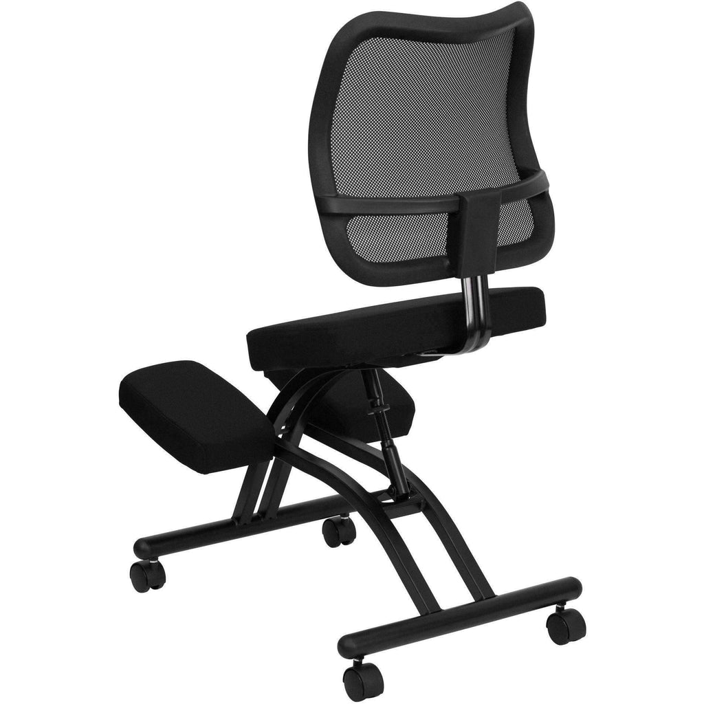 Mobile Ergonomic Kneeling Chair With Curved Mesh Back