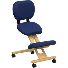 Mobile Wooden Ergonomic Kneeling Posture Chair in with Reclining Back