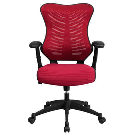 Designer High Back Burgundy Mesh Executive Swivel Chair | SitHelathier