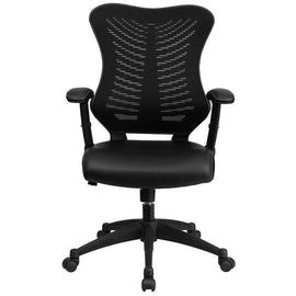 Designer High Back Black Mesh Swivel Chair Leather Seat | SitHealthier