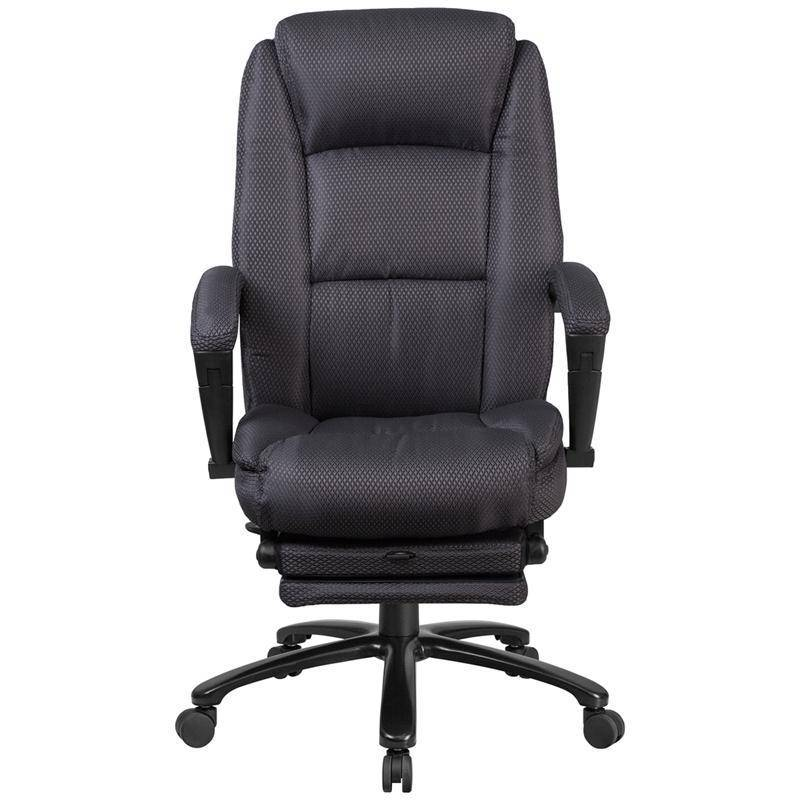 gray executive reclining swivel office chair with padded armrests