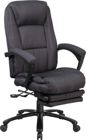 High Back Gray Fabric Executive Reclining Swivel Office Chair With Comfort Coil Seat Springs And Padded Armrests | sithealthier.com