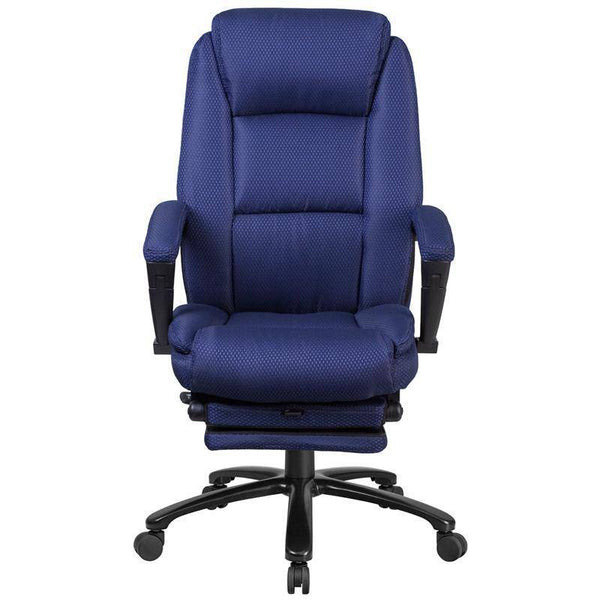 High Back Navy Fabric Executive Reclining Swivel Office Chair | sithealthier.com
