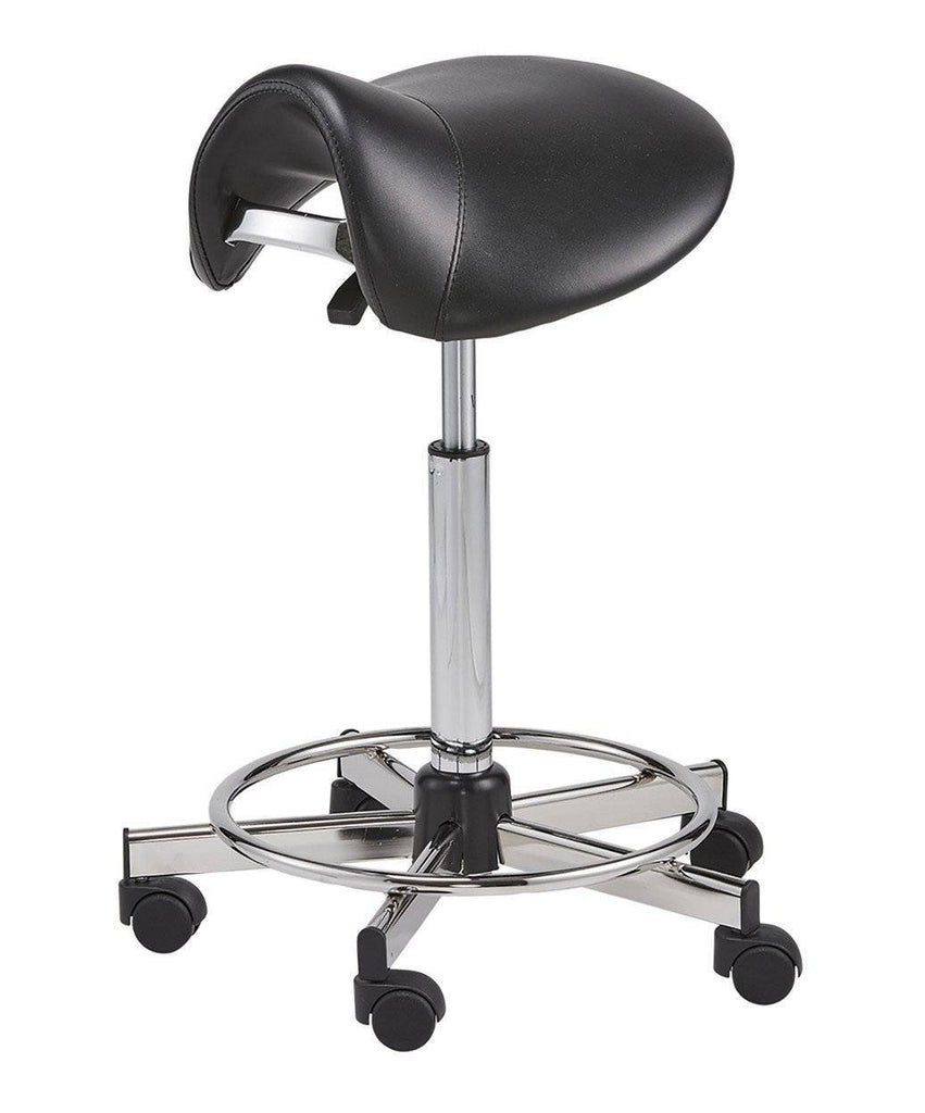 Pneumatic Vinyl Upholstered Saddle Chair With Footrest