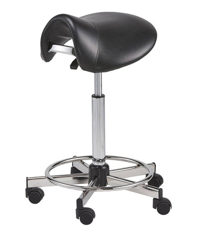 Pneumatic Vinyl-Upholstered Saddle Chair with Footrest | SitHealthier.com