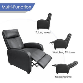 Thick Padded Recliner Chair In Black PU Leather For Home Or Office    SitHealthier