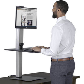 High Rise™ Electric Ergonomic Single Monitor Standing Desk Converter | SitHealthier
