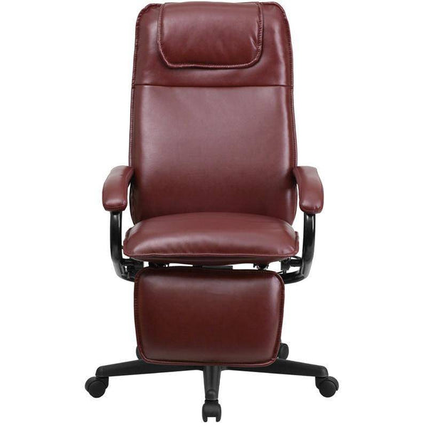 High Back Burgundy Leather Executive Reclining Swivel Chair With Arms | sithealthier.com