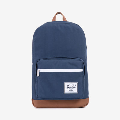 "Well equipped for school and work, the Pop Quiz backpack in Navy from Herschel features a versatile range of storage pockets and organizers. 17.5""(H) x 11.75""(W) x 6""(D) Signature striped fabric liner Padded and fleece lined 15"" laptop sleeve External pocket with organizers and key clip Front storage sleeve with waterproof zipper Internal side pocket Product code: 10011.00007.OS off the hook oth streetwear boutique canada montreal quebec"