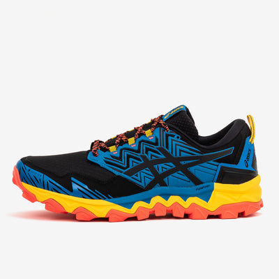 Asics Gel-Fujitrabuco 8 GORE-TEX trail running shoe in blue and black. Now at Off The Hook, OTH, Montreal, Quebec, Canada.