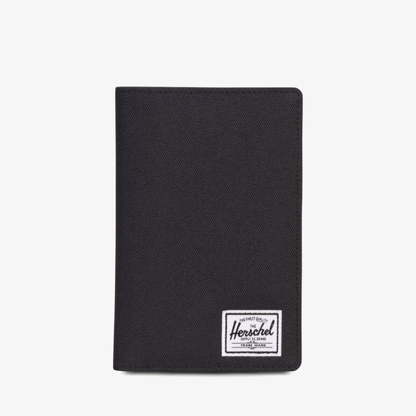 "Designed to keep your travel documents organized and accessible, the Search passport holder from Herschel in Black features a convenient pen holder and multiple storage options. Dimensions: 6""(H) x 3.5""(W) Black tonal striped fabric liner / RFID blocking layer Passport sleeve and pen loop Multiple card slots and storage sleeves Engineered red and white striped tab Product code: 10399.00001.OS off the hook oth streetwear boutique canada montreal quebec"