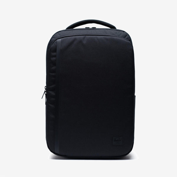 """Designed for tech-savvy journeys, the Travel Daypack in Black from Herschel is a modern silhouette featuring a convenient luggage trolley sleeve and multiple compartments to organize devices and in-flight essentials. 16.75""""(H) x 11.5""""(W) x 5.75""""(D) Black and white striped fabric liner Padded / fleece lined 15"""" laptop and tablet sleeves Front compartment with organizers / key clip Zippered compartment closures Product code: 10667.00001.OS off the hook oth streetwear boutique canada montreal quebec"""