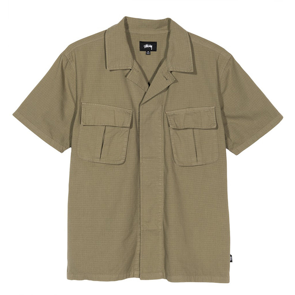 stussy military button up jungle ss short sleeve olive green shirt oth off the hook
