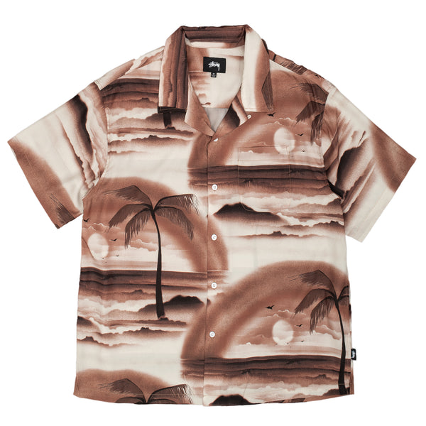 stussy button up rayon island shirt brown off the hook oth