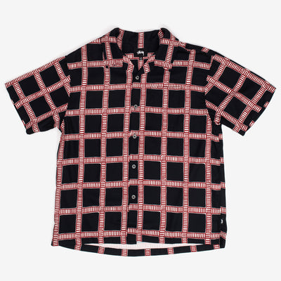 Stussy 1110117 Hand Drawn Plaid Shirt Black - front view - available at off the hook montreal