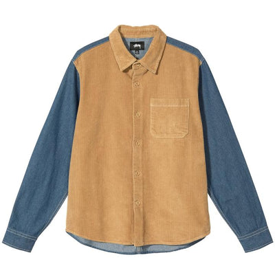 Stussy 1110126 Cord Denim Mix Shirt Khaki  front available at off the hook montreal