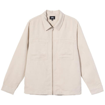 Stussy 1110134 Micro Suede Work Shirt Natural front available at off the hook montreal
