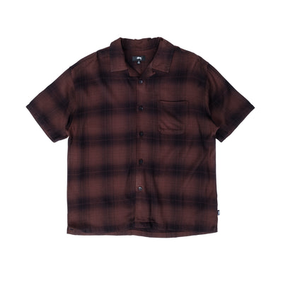 1110152 Boxy Shadow Plaid Shirt - front - available at off the hook montreal #color_brown