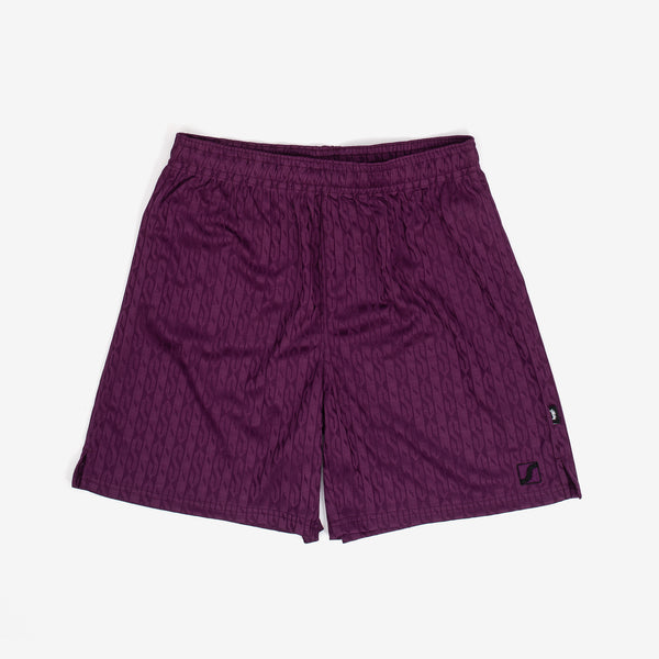 "Inspired by old school patterned soccer shorts, Stussy adds a pop of texture to their take on the garment. Constructed from a jacquard knit, these shorts feature an allover ""S"" pattern, an elasticated waistband with and interior drawstring, and minimal branding.  Product code: 112256  off the hook oth streetwear boutique canada montreal purple"