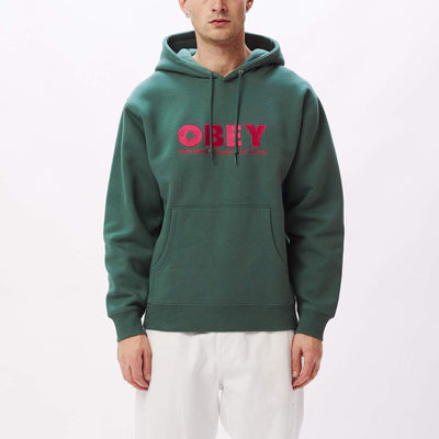 Obey Hubbs Hood Speciality Fleece - Green - Front - Off The Hook Montreal #color_green