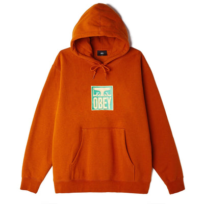 Obey Stack Hooded Specialty Fleece - Pumpkin - Front - Off The Hook Montreal #color_pumpkin