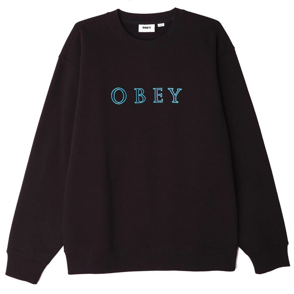 OBEY Curtis Crew Specialty Fleece - Black - Front - Off The Hook Montreal