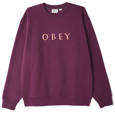 OBEY Curtis Crew Specialty Fleece - Wine - Front - Off The Hook Montreal #color_bb-wine