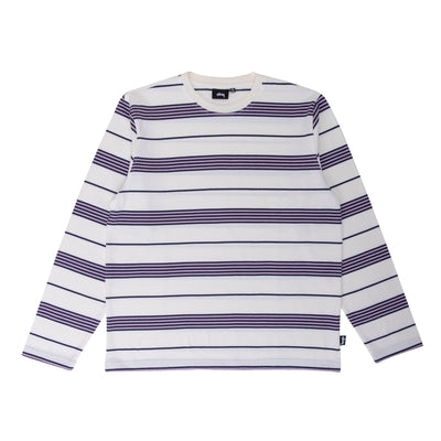 Stussy Asher Stripe LS Crew - Natural - Front - Off The Hook Montreal #color_natural