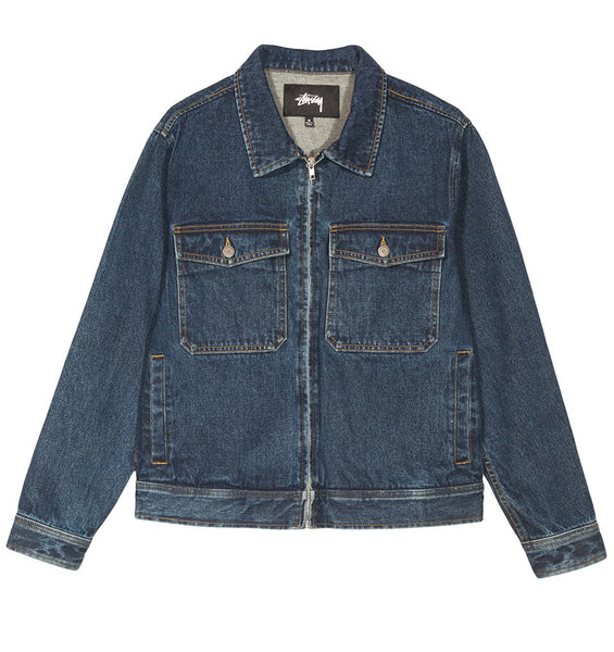 stussy denim jacket garage blue jean washed zip off the hook oth