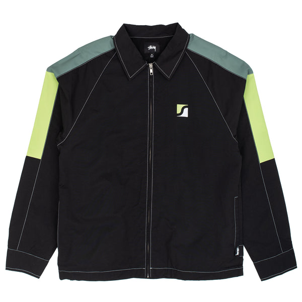 stussy jacket workwear zip black overshirt