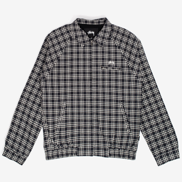The Plaid Linen Bryan Jacket in Navy sports a classic fit and features stock logo embroidery, a woven flag label full zip closure, a zip chest pocket and front welt pockets.  77% Cotton /23% Linen Woven Product code: 115512  off the hook oth streetwear boutique canada montreal