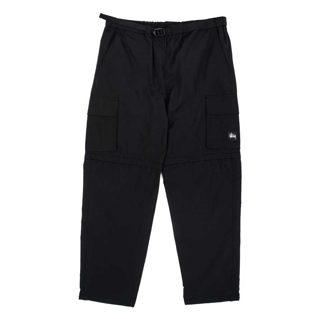 Stussy 116421 Zip Off Cargo Pant Black - front view - available at off the hook montreal