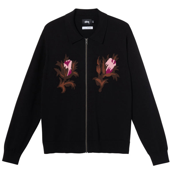 Stussy Rose Thorn LS Zip Sweater - Black - Front - Off The Hook Montreal