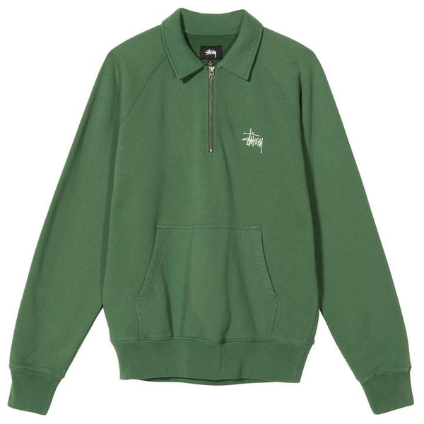 Stussy 118386 Polo Zip Fleece Green front available at off the hook montreal